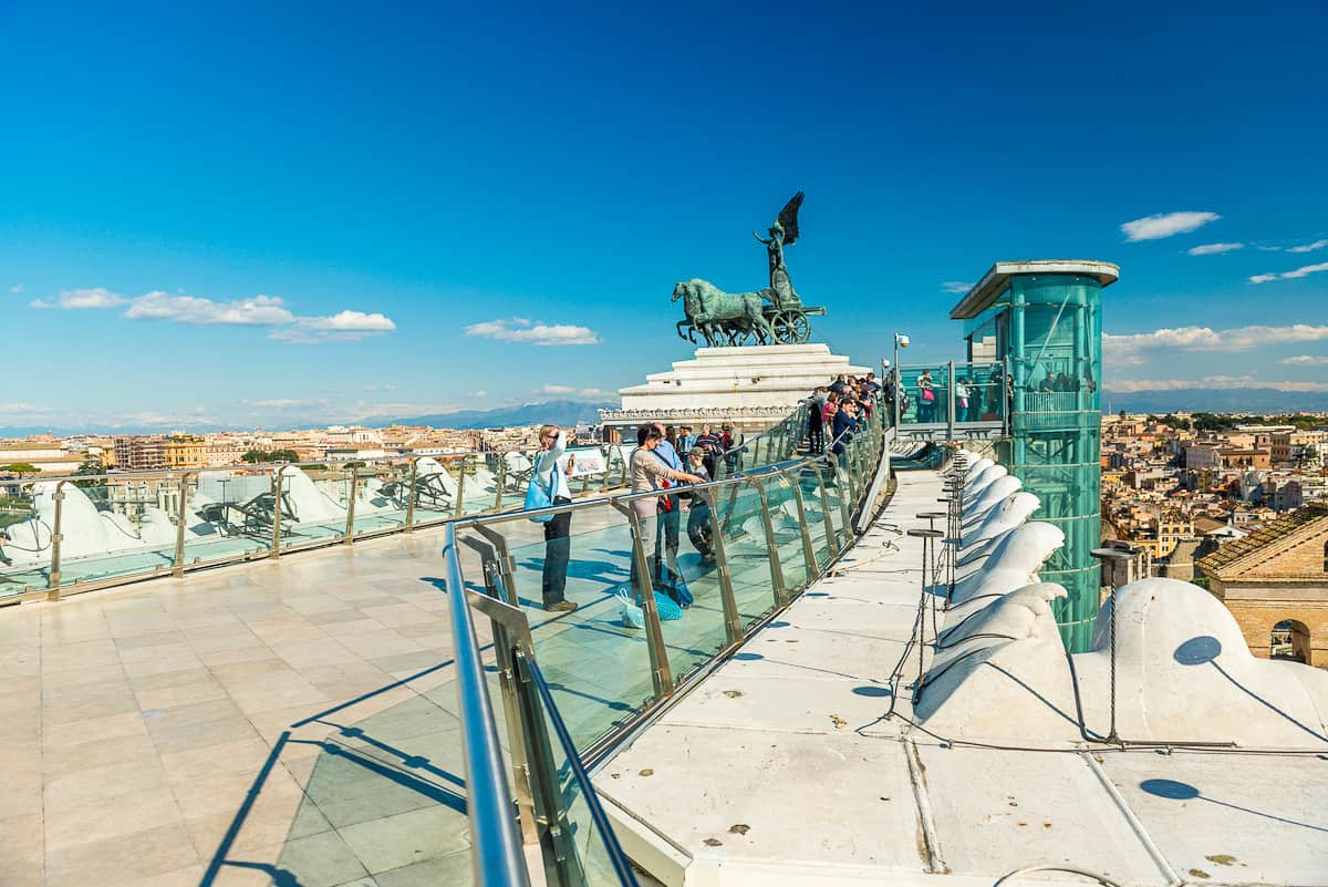 Roof terrace on top of the Vittoriano Museum Complex.