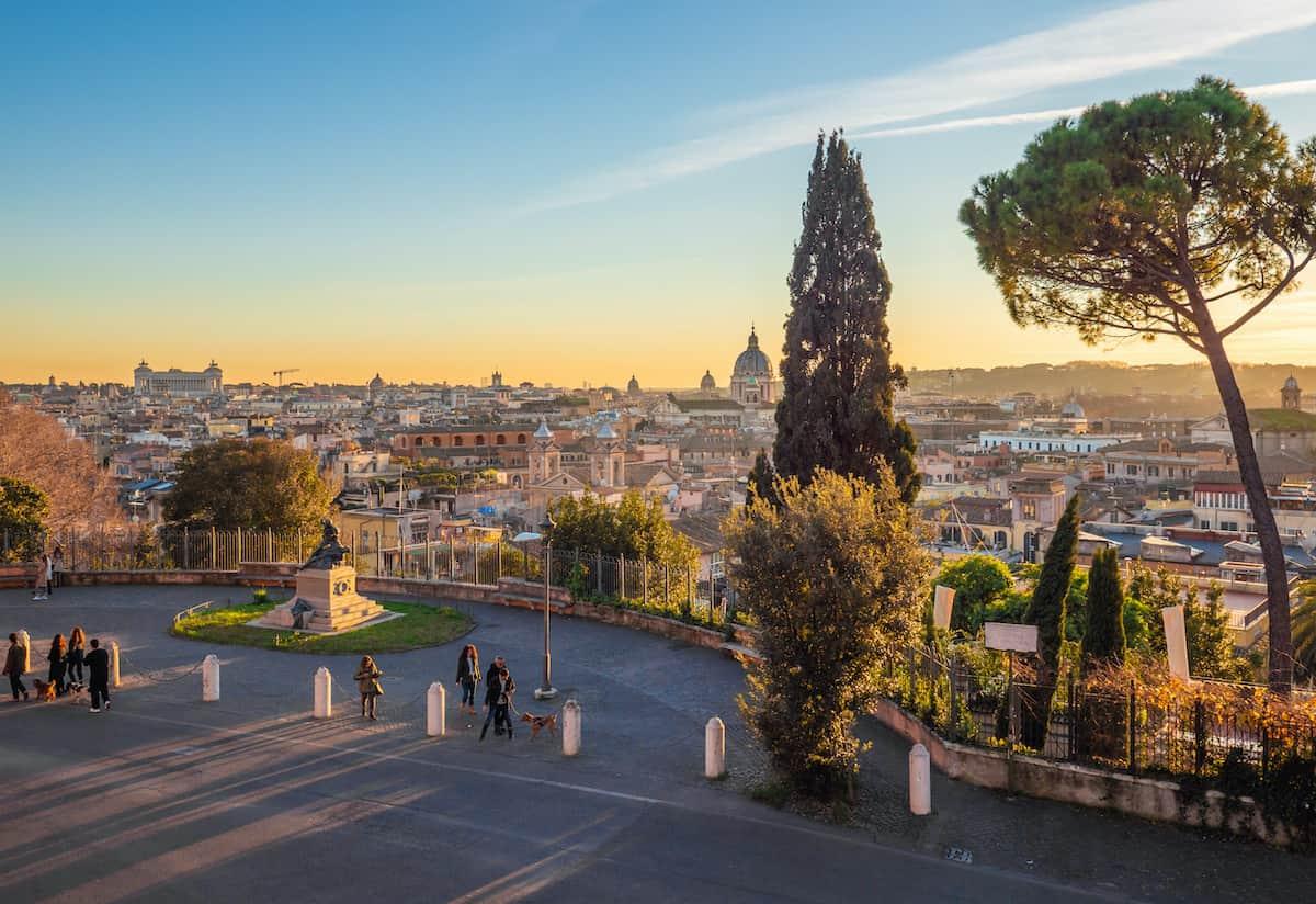Villa Borghese monumental park with Terrazza del Pincio terrace