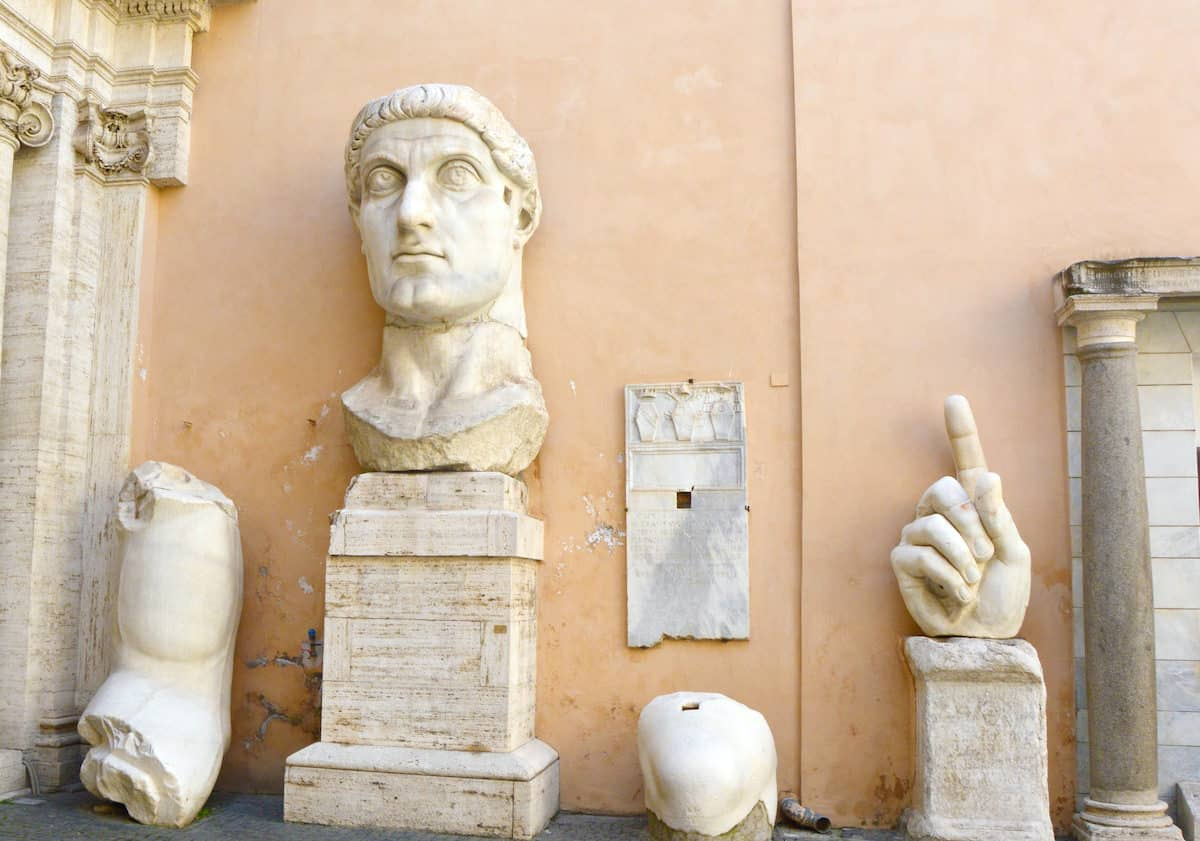 Emperor Constantine parts of giant marble statue in Capitoline Museums