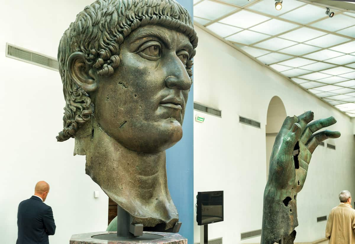 Fragments of an ancient bronze statue of emperor Constantine the Great in the Capitoline Museum