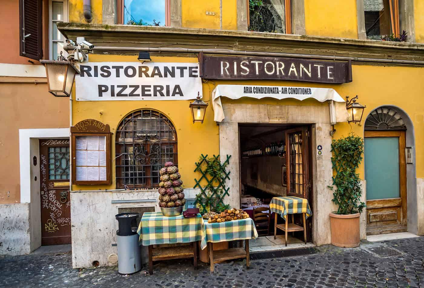Restaurant entrance at Trastevere area