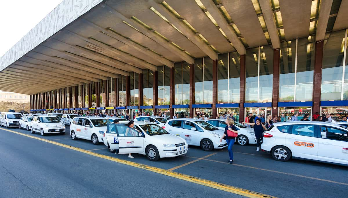 Taxi Rank outside of Rome Termini Train Station