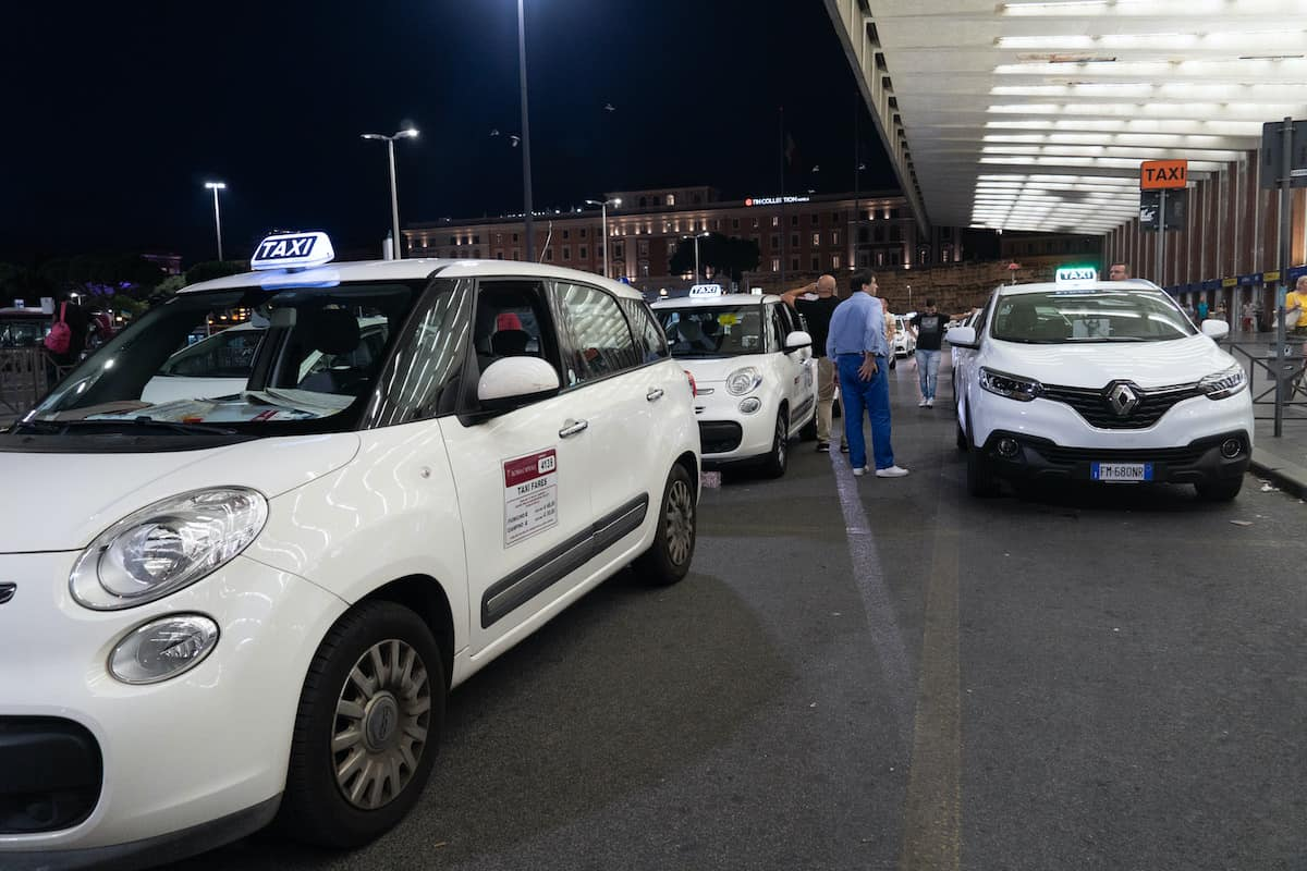 Taxis at Termini railway station at night