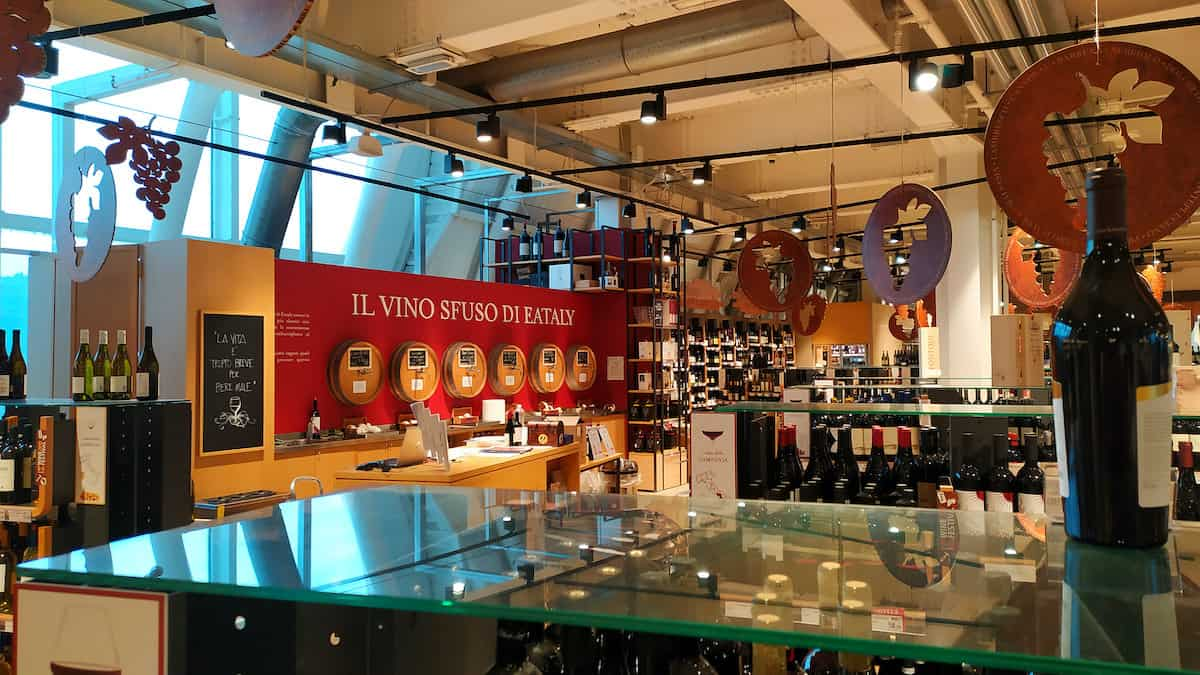 Wine of various Italian regions and spirits in Rome's Eataly